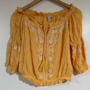 American eagle off the shoulder boho yellow blouse